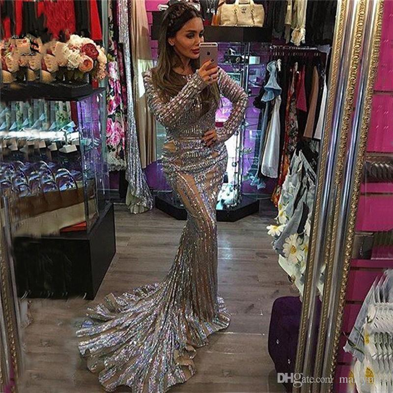 Luxury Sexy Backless Mermaid Tulle Evening prom Dress Grey Sequined Long Sleeves Evening Gowns 2017 New Serene Hill Robe De Soiree