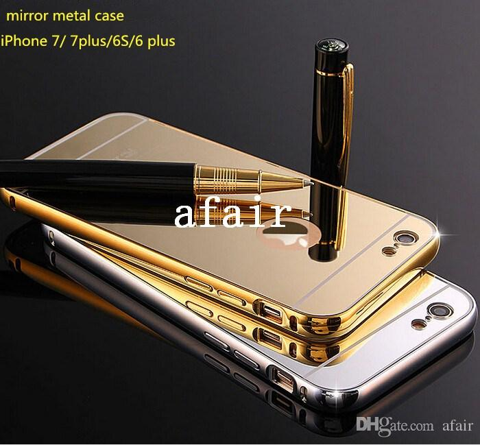 Luxury Aluminum Ultra-thin Mirror Metal Bumper tomkas Case PC back Cover frame for iPhone 7 6 6S Plus 5S SE Samsung galaxy S7 S6 edge note 7