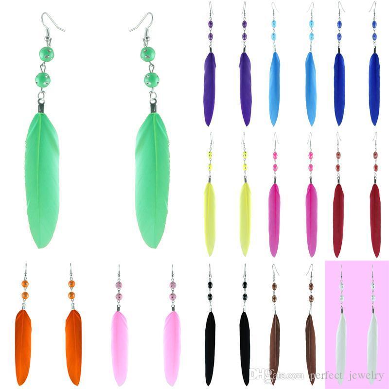 깃털 귀걸이 12 색 도매 많이 귀여운 구슬 매력 간단한 빛 매달아 귀고리 뉴 화이트 블랙 핑크 오렌지 옐로우 그린 블루 (JF142)