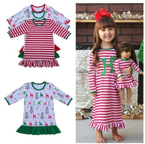 2017 höst vinter baby flickor jul nattklänning ruffle klänning barn tjejer jul pyjamas röd och vit rand klänning bomull pjs nattkläder