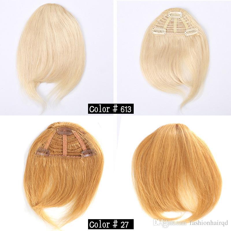 Clip de pelo humano en el pelo Bangs franja humana Bold Blunt Natural Hairpiece Indian Virgin extensiones de cabello 7 colores elegir