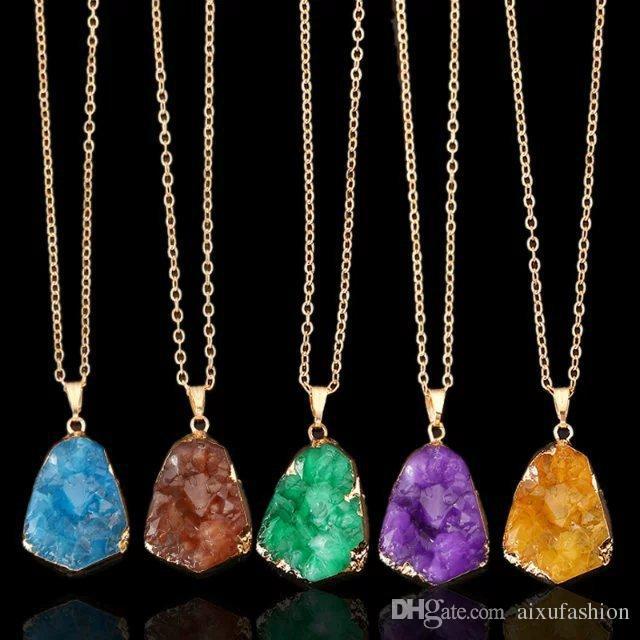 Nuevo Irregular Collares pendientes de Piedra Natural Collar de Cristal de Cuarzo Rebanada Colgante Collar de Cadena de Joyería Venta Caliente 2017