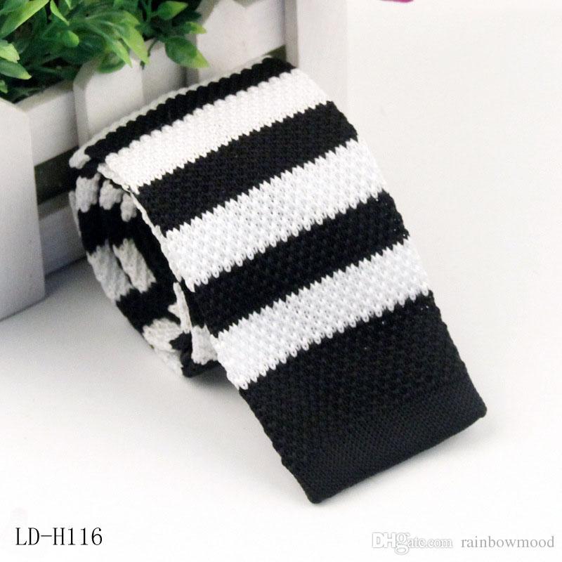 Corbata de punto para hombres cabeza plana ocasional Corbata de lana Estrecha Jacquard Corbata de punto Corbata de poliéster 24 color 11-19