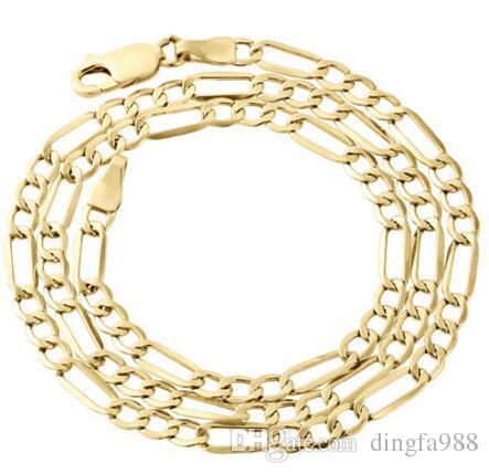 Mens Real 10K giallo oro Figaro catena 4mm collana alta lucidata 16-30 pollici