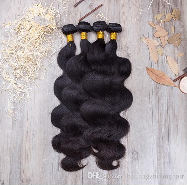 Großhandel - 8a Klasse 10-28inch Remy Malaysian unverarbeitete Haarkörperwelle Haar-Schussfaden 3Pcs / Lot natürliche Farbe reine menschliche Haarverlängerungen