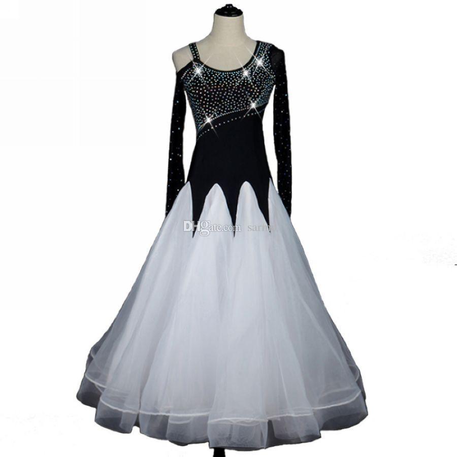 Vestidos da valsa do salão de baile Venda de salão de baile Concorrência do vestido Traje de dança do tango trajes D0085 Tamanho personalizado Big Sheer Hem manga comprida