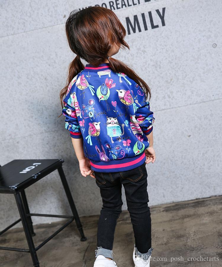 ea46fd883 Animal Printings Bomer Jackets For Girls 2017 Winter Children ...