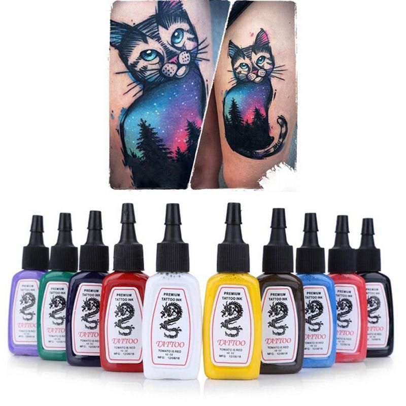 Couleurs Lumineux Ensemble De Tatouage Encre Tattoo Complet Pigment Sourcils Lèvre Maquillage Permanent Encre Pour Tatouages Encres Corps 10pcs / Set Livraison gratuite