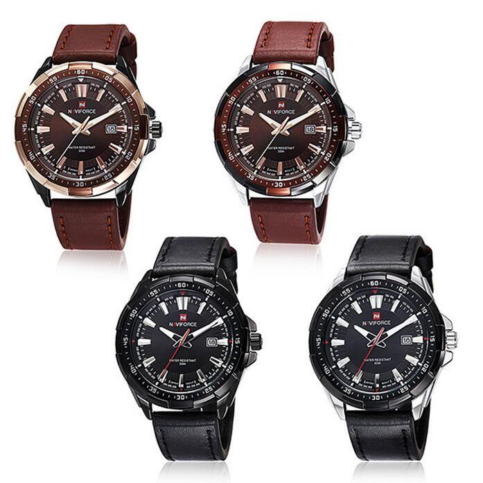 NAVIFORCE Марка мужская мода повседневная спортивные часы мужчины водонепроницаемый кожаный кварцевые часы человек военные часы Relogio Masculino