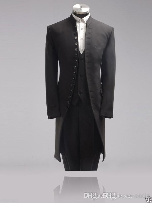 Charcoal Vintage Men Prom Suits Tuxedo with Long Jacket 15 Buttons ...