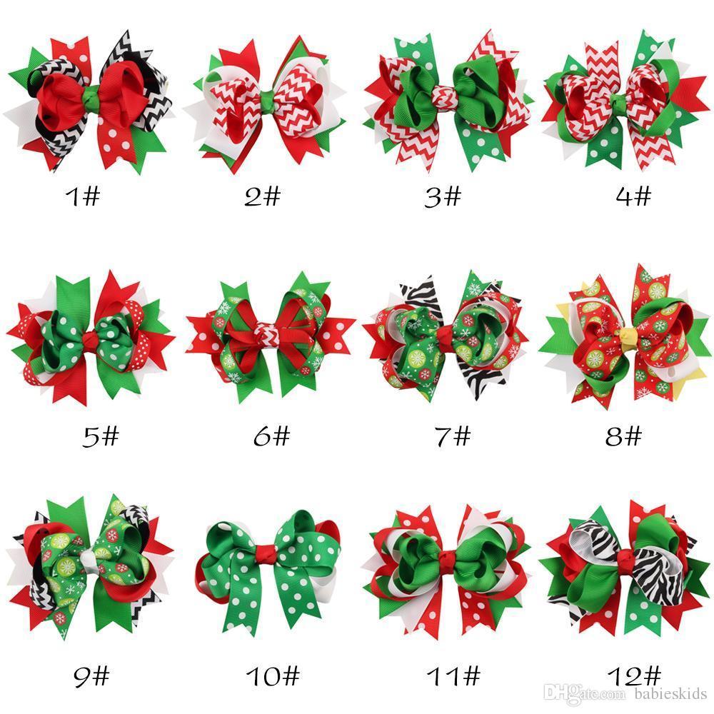 Cabelo Crianças Acessórios de Natal grampos de cabelo do bebê meninas laço de fita grampos X-mas flores de presente da zebra listrado pontos neve imprimir crianças barrette