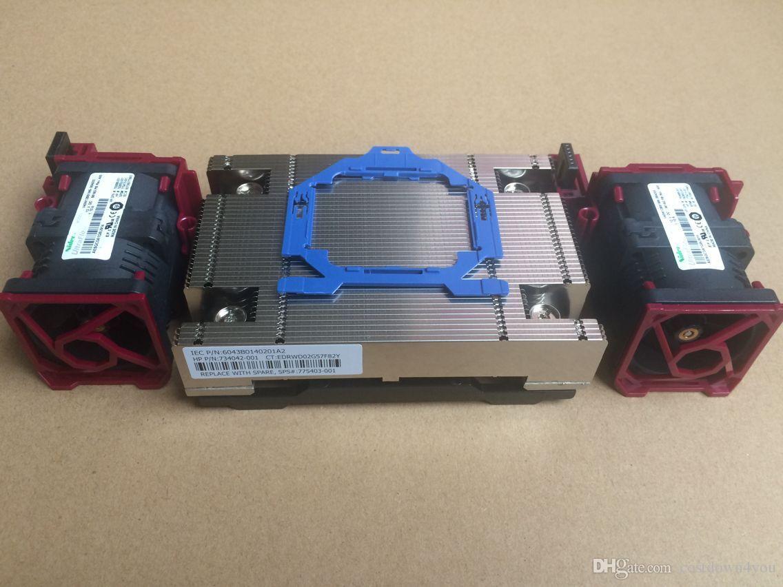 NEW HP DL360p G9 V3//V4 CPU cooler kit,heatsink 775403-001,2x fans 750688-001