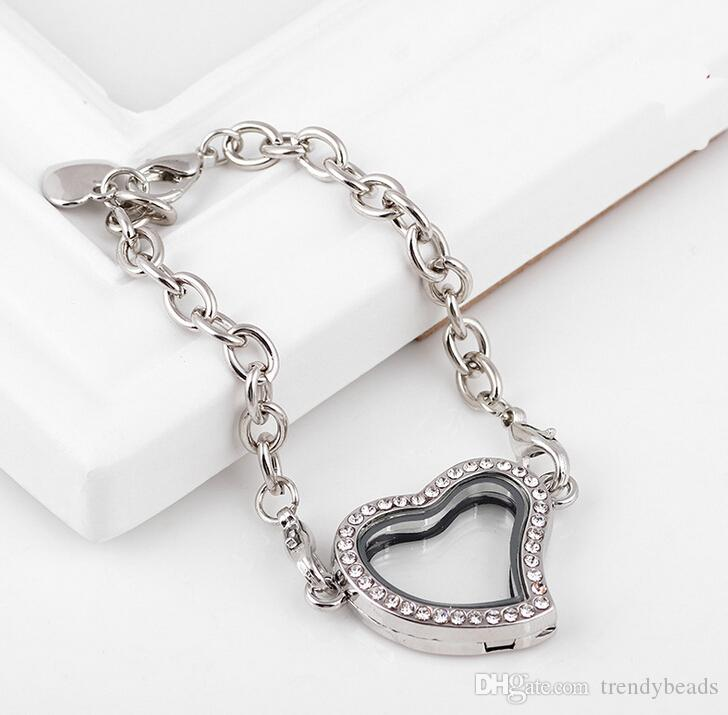 Corazón de la manera Living Memory Medallón Pulsera para Las Mujeres Regalo de La Joyería Magnética de Cristal Flotante