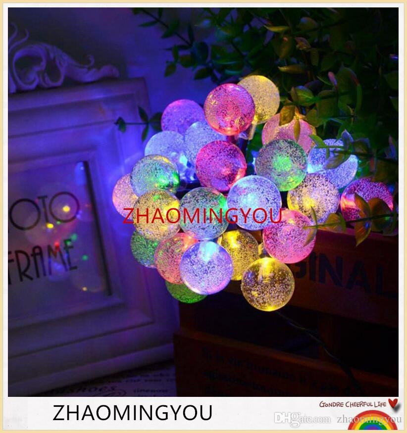 YOU Solar Lamp 6M 30LEDs Crystal Ball Waterproof Outdoor solar led string Colorful Warm White fairy light Garden Decoration