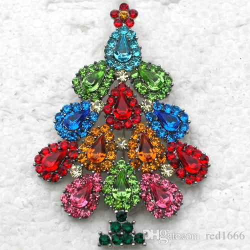 Albero di Natale all'ingrosso Strass Pin spille regalo di Natale C101919