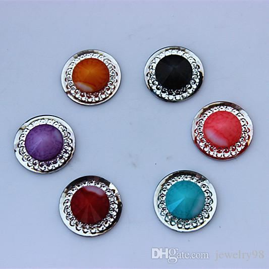 100PCS16mm doppio colore rotondo perle di resina di cristallo posteriore piatta strass gioielli accessori scrapbook craft ZZ23