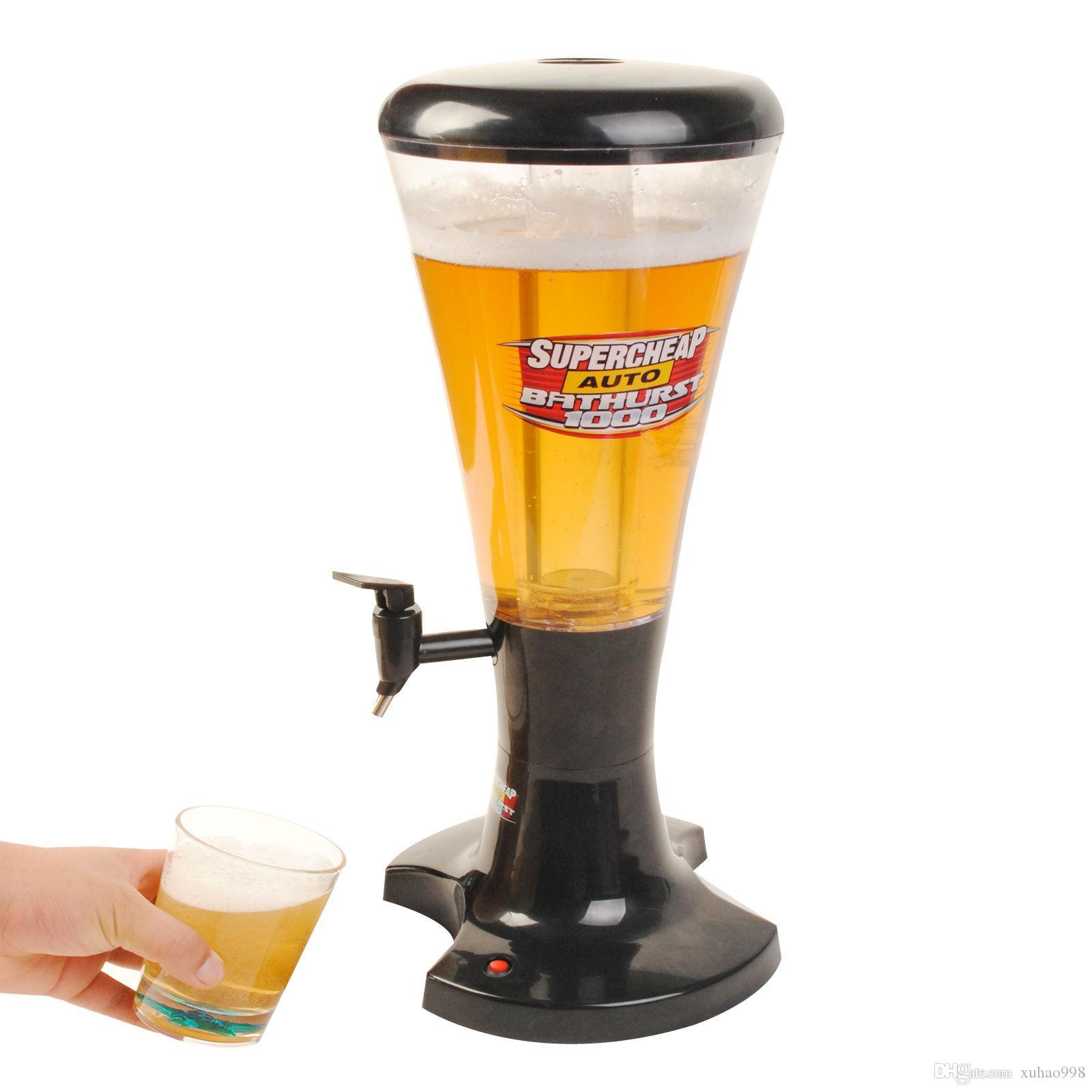 3L froid Projet de bière Tour distributeur en plastique avec des lumières LED Nouveau