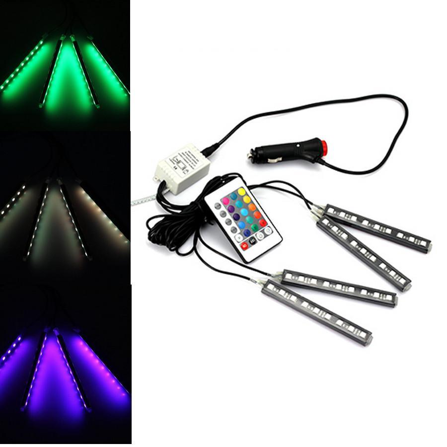2016 4strip / set Interior Atmósfera Decorativa Lámpara de Luz de Neón LED Inalámbrico Remoto Multi Color RGB Coche Encendedor Envío Gratis