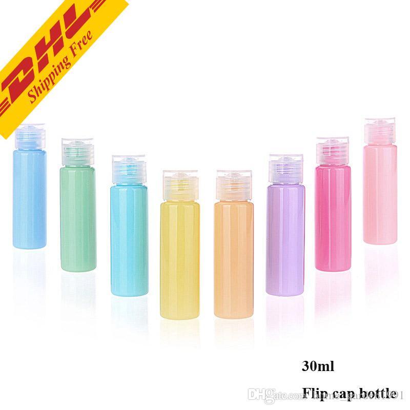 DHL бесплатно 30 мл Macarons цвет путешествия прозрачный пластиковый насос бутылка маленький мини пустой насос многоразового использования бутылки для ухода за кожей