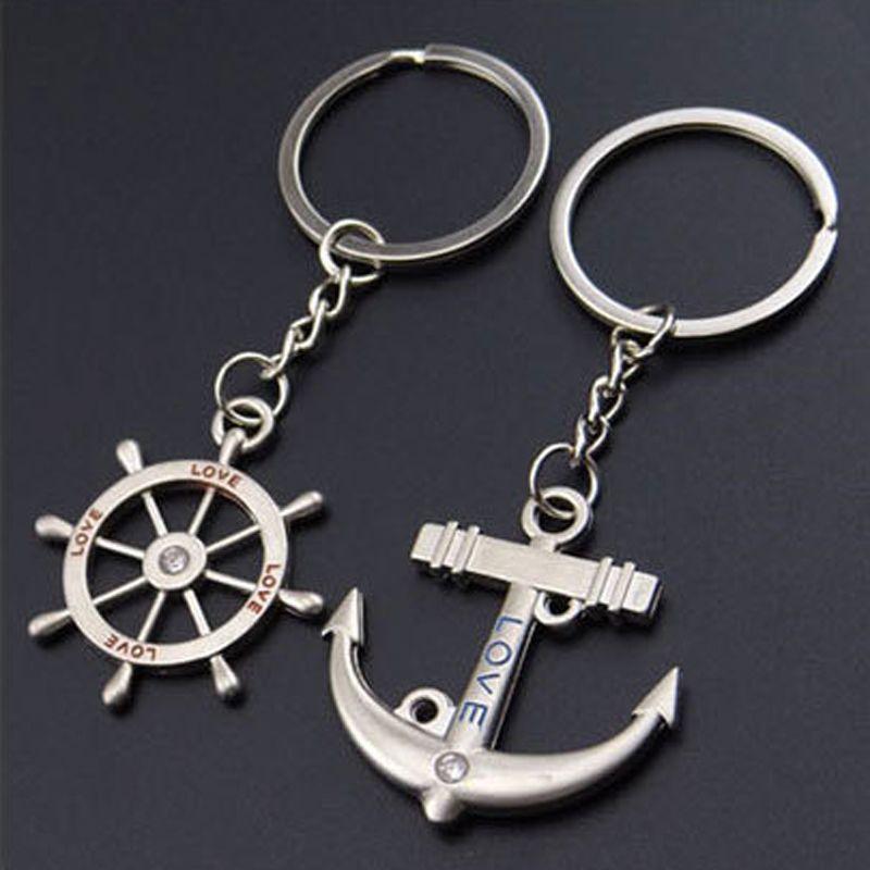 Couple amant porte-clé - 1 paire Creative mode ancre volant porte-clés porte-clés porte-clés cadeau de la Saint-Valentin