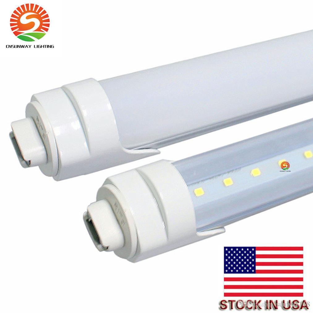 60PCS 주도 튜브 라이트 T8 8피트 2,400mm R17D 회전 형광등 튜브 램프 + 재고 미국 주도