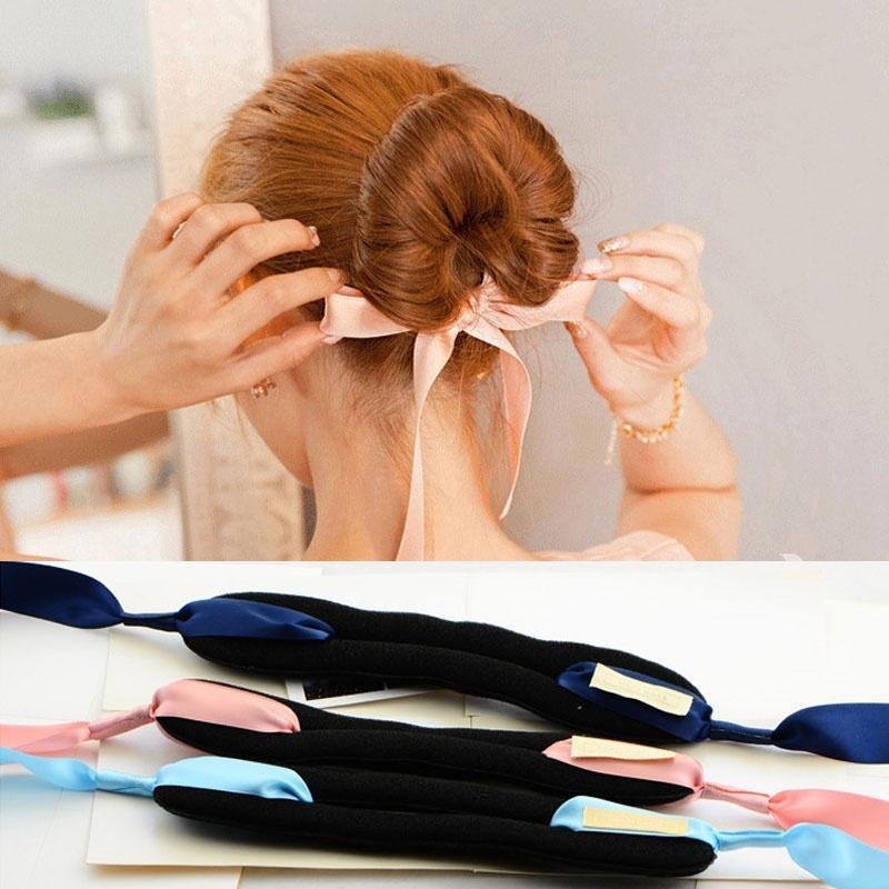 Moda Herramientas Mágicas Dispositivo de Esponja de Espuma Desordenado Rápido Donut Bun Peinado Chica Mujeres Accesorios para el Cabello Diademas de Banda Diadema de Seda
