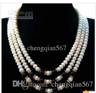 3rows белый жемчуг черный нефрит ожерелье