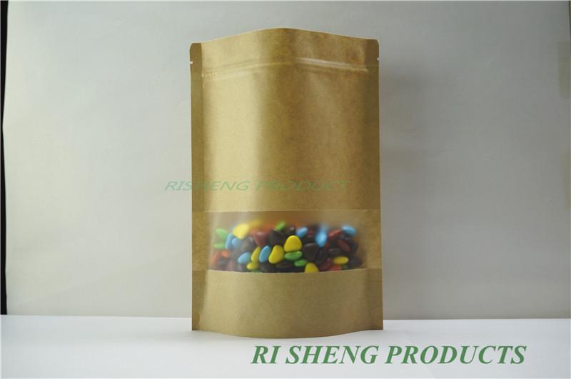 17x24cm Sac Kraft ZipLock 100 X Marron Sacs en papier kraft avec fenêtre transparente mate - Fermeture à glissière-pochette en papier pour artisanat alimentaire réutilisable