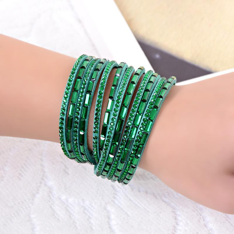 Braccialetti punk di cristallo del braccialetto dell'involucro del cuoio dell'unità di elaborazione del Rhinestone all'ingrosso-Multilayer per le donne