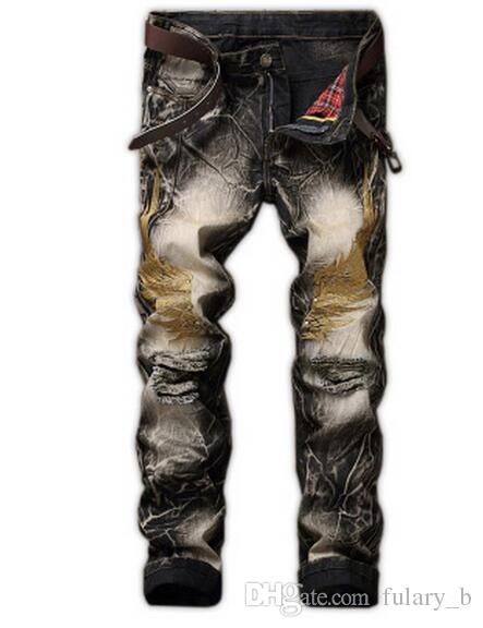 New 2017 Men's hole jeans Retro slim fit eagle wing embroidered biker denim pants Male rap casual ripped punk jeans