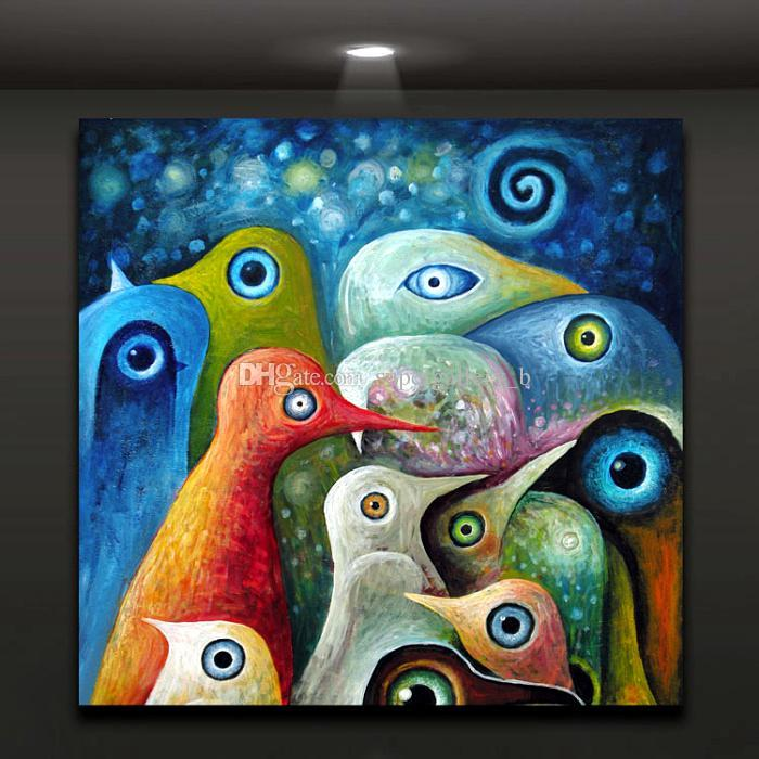 Framed Colorful Birds Painting,Pure Handpainted Modern Abstract Graffiti Animal Art oil painting On High Quality Canvas size can customized