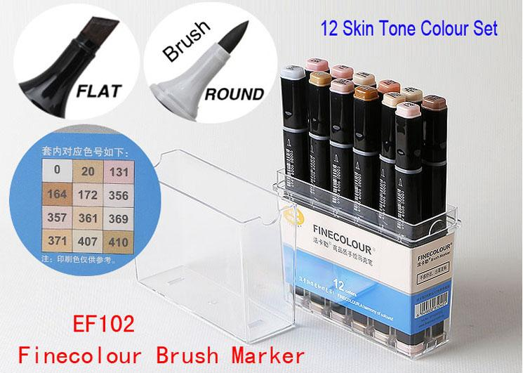 2019 Finecolour Brush Marker Set In Plastic Box 12 Skin Tone Colours Set For Cartoon Anime Manga Sketch Marker Set Double Ended From Ffcraftsupply