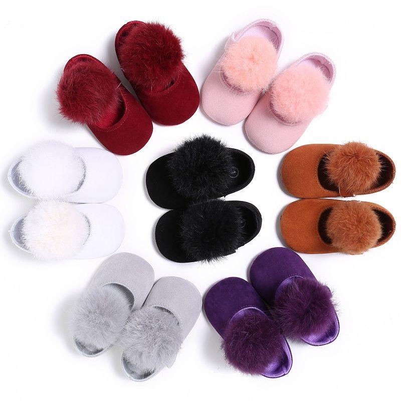 رضيع أحذية حلوة الرضع طفل Prewalkers فتاة الأميرة الشعر الكرة الأولى حمالات عربة سرير بيبي ماري جين