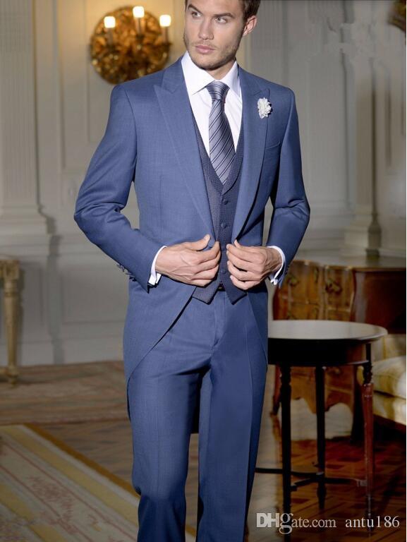 Tailor Made Lacivert Beyefendi Takım Tailcoat yeni Stil Damat takımları Smokin Uzun Düğün Balo Parti Suits (ceket + yelek + pantolon)