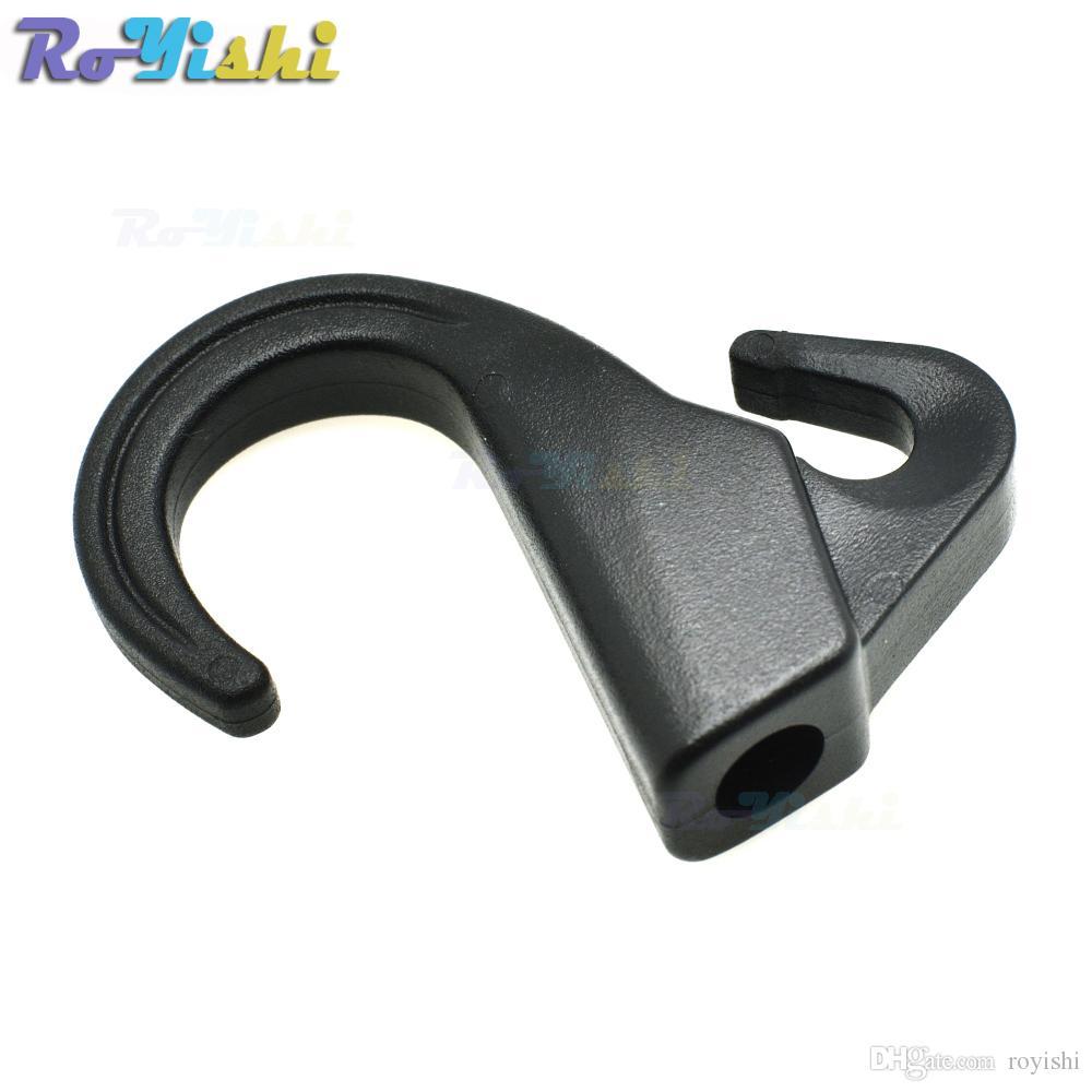 20 pz / lotto 8mm Foro di Plastica Campeggio Outdoor EDC Strumento Snap Hook Zaino Strap Fibbia Per Bungee Paracord Nero