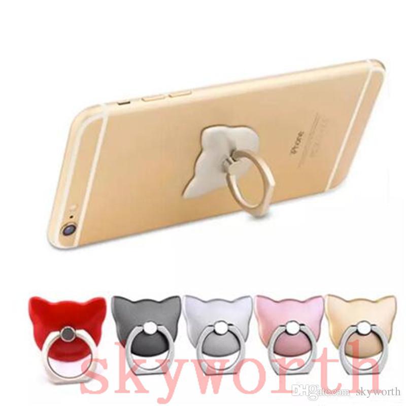 Supporto a forma di telefono mobile del fronte di Cat del fronte del gatto del fumetto di 360 gradi KickStand per iphone7 più 6s Supporto del gancio dell'anello universale di Samsung Xiaomi