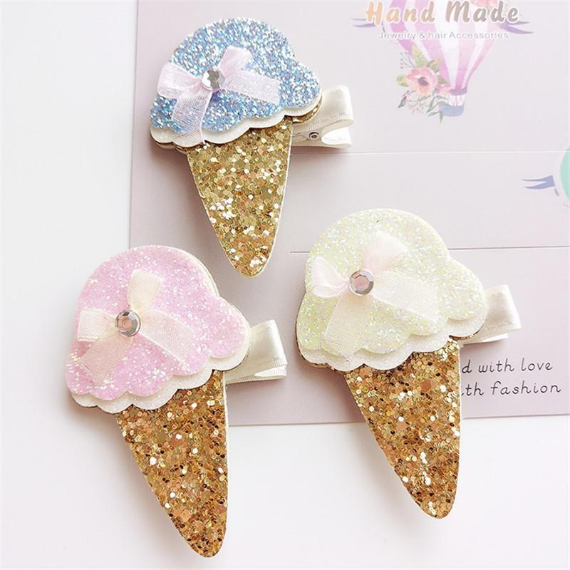15pc /Lot Summer Glitter Ice Cream Hair Clips Sweet Ice Pop Kid Barrettes Gold Cone Cup Ice -Cream Cute Dessert Girl Hairpin Gift