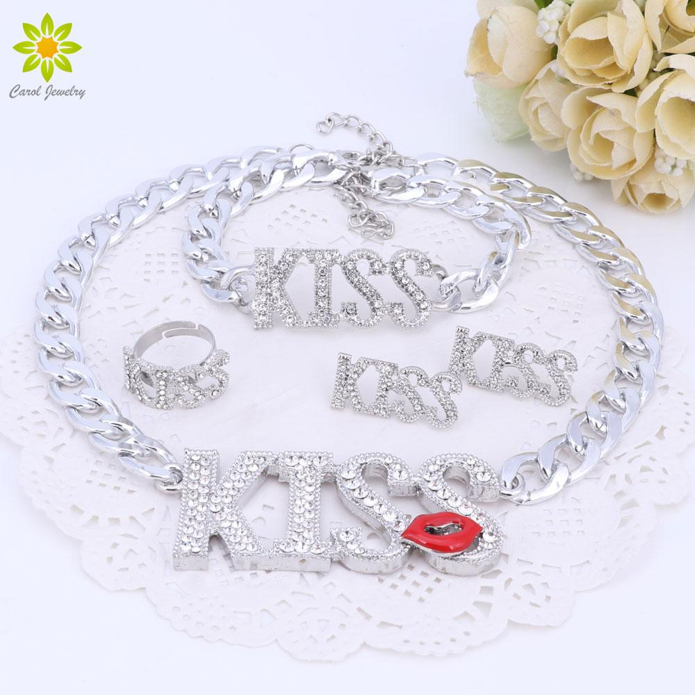 Fashion Choker Letter Pendants Necklace For Women Cute Red Kiss Lips Silver Color Necklace Sets Fashion Jewelry Sets