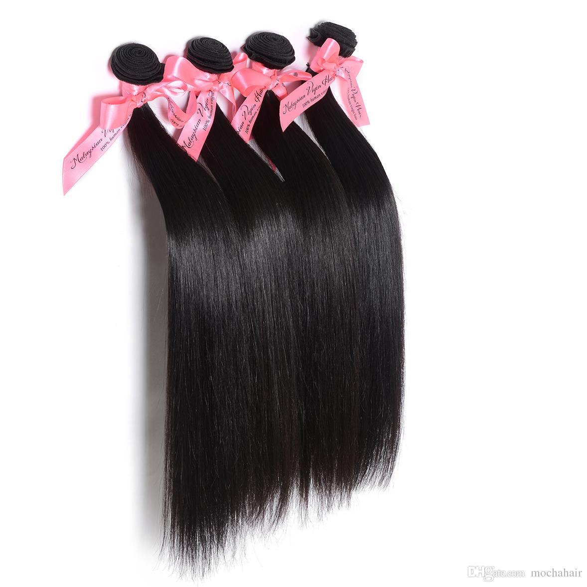 """4 teile / los Mokka Haar 12 """"-26"""" unverarbeitete Gerade Malaysische Reine Menschenhaarverlängerung Natürliche Farbe Verwicklung Frei"""