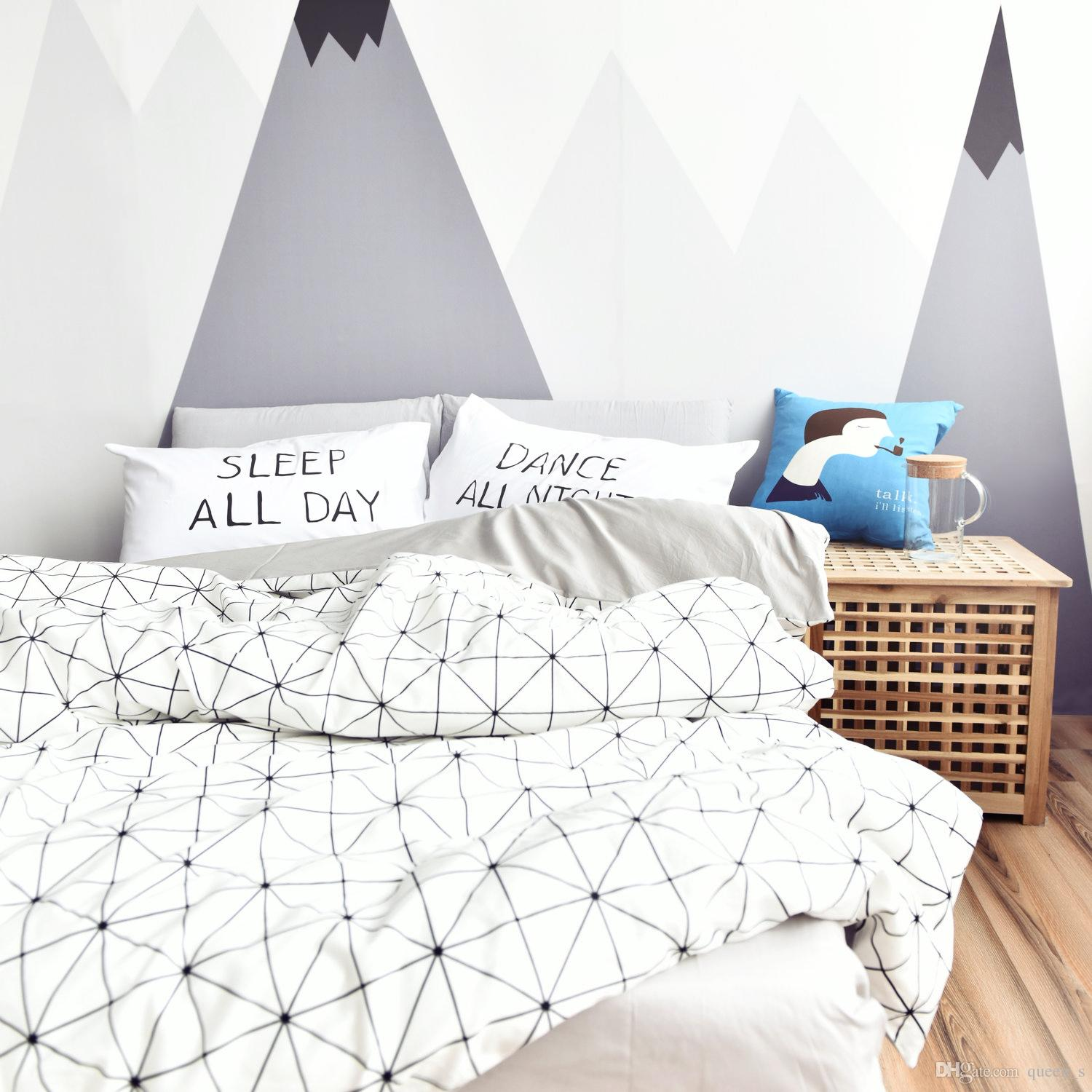 Fashion Black White Color 100 Cotton Twin Queen Size Bedding Set Duvet Cover Set For Kids And Adults Bedroom Bedding Quilt Comforter Sets From Queen S 46 24 Dhgate Com