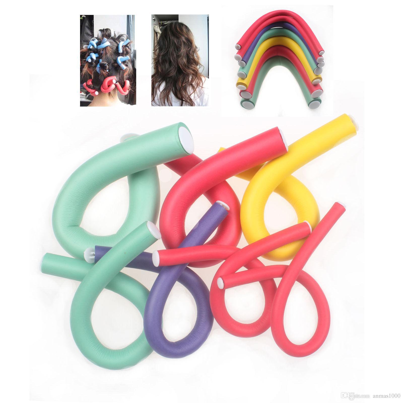 Schlussverkauf !!! Gelegentliche farbe 10 Teile / los Schwamm Lockenwickler Maker Bendy Twist Locken DIY Tools Styling Lockenwickler