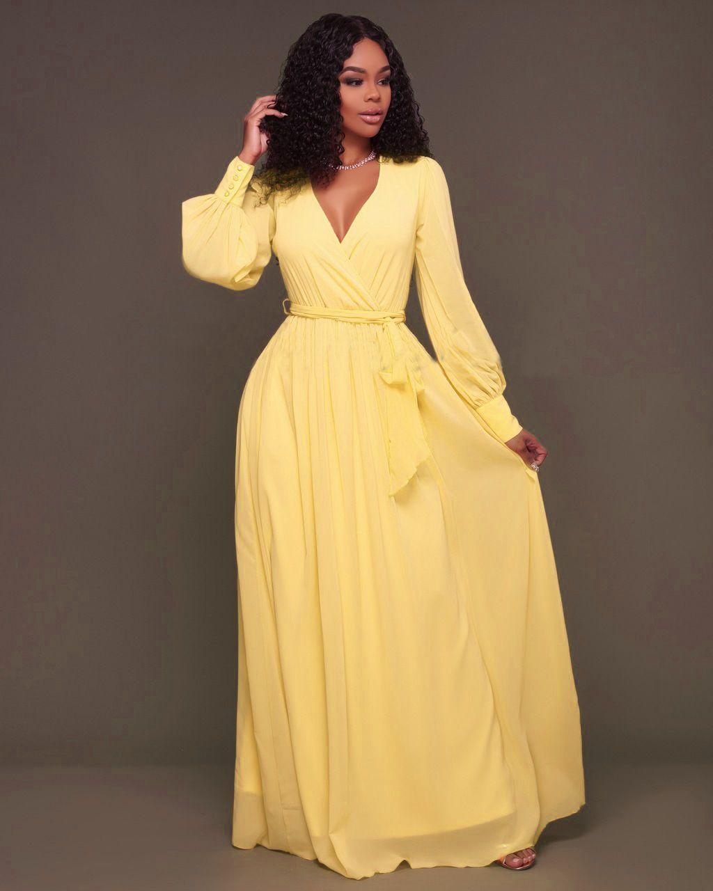 Compre Moda De Manga Larga Fajas Maxi Vestidos Largos Mujer Elegante Con Cuello En V Ruffles Suelta Vestido Amarillo Rosa Vestidos De Fiesta A 1558