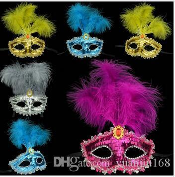 Color Feather Party Máscara Lentejuela Decoración Princesa Masquerade Dancing Mask Eco Friendly Halloween Cosplay Decoración 12pcs / lot
