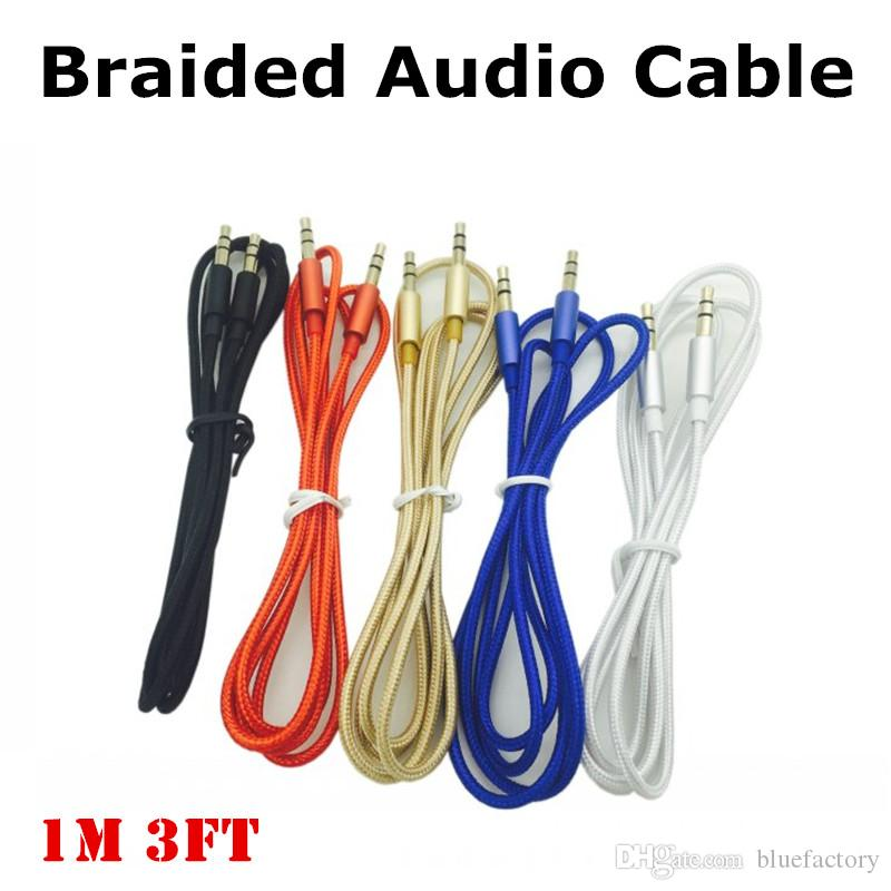 Newest 1M Braided 3.5MM Stereo Auxiliary Male to Male Aux Audio Cable Car Extension audio Cord for iphone Samsung Speaker Computer MP3 MP4
