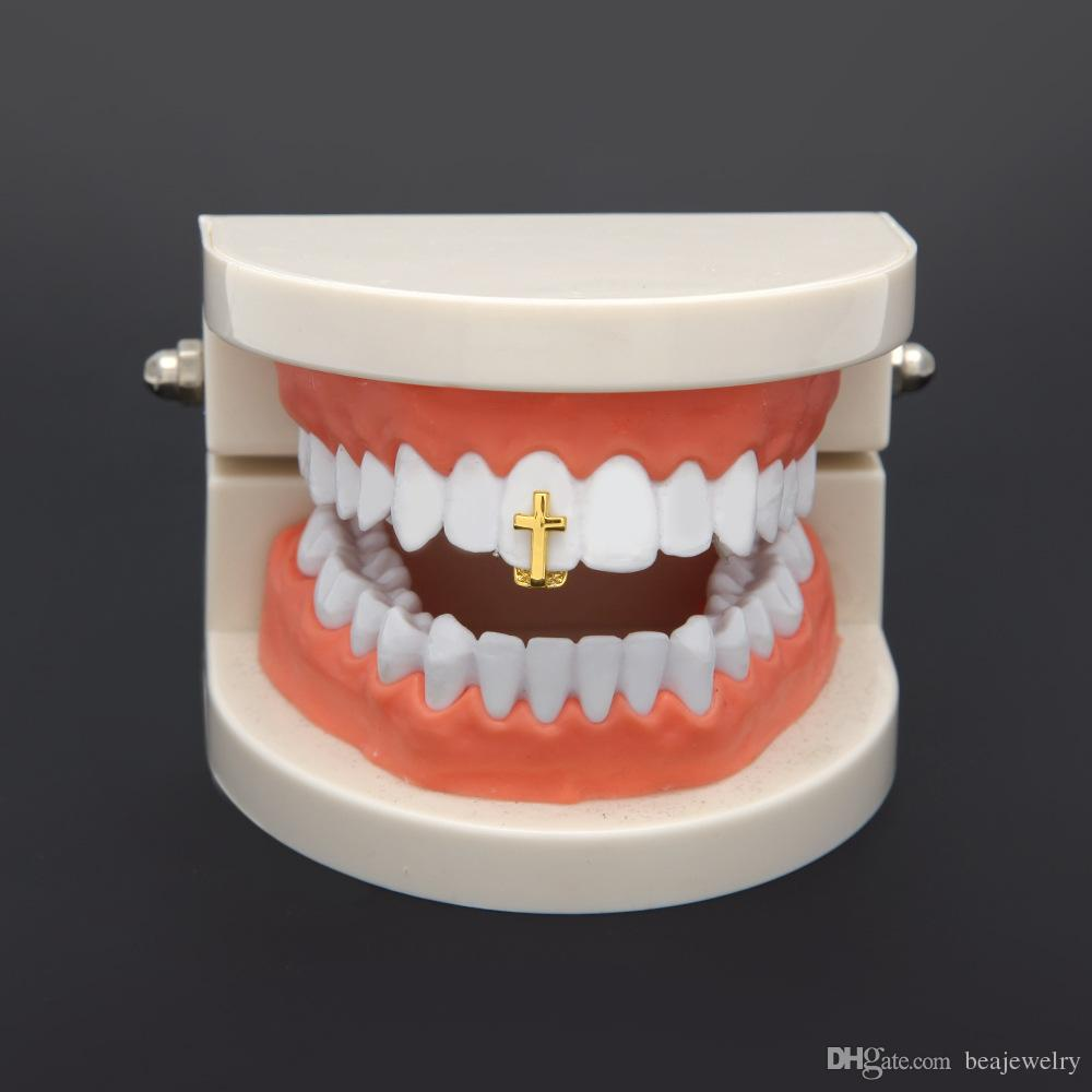 New Silver Gold Plated Cross Hip Hop Single Tooth Grillz Cap Top & Bottom Grill for Halloween Fashion Party Jewelry