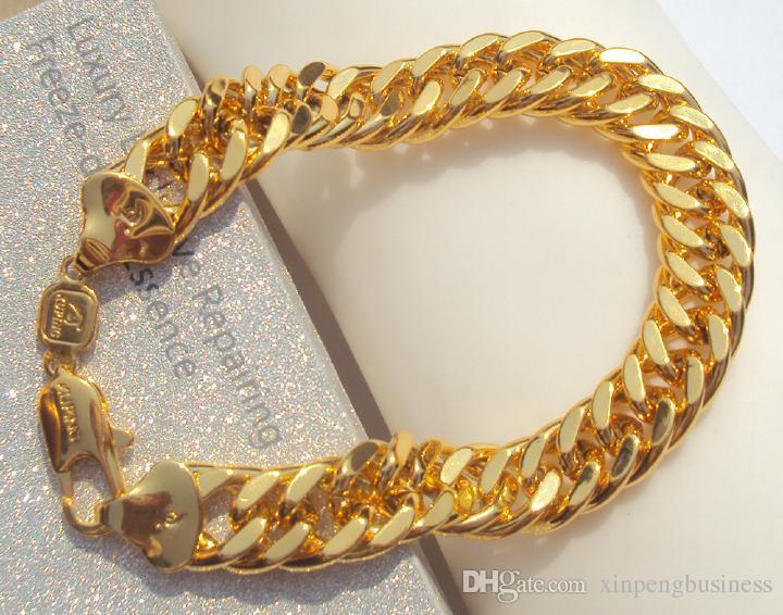 NEW HIP HOP SOLID 24K 리얼 골드 GF MIAMI CUBAN 링크 체인 브레 슬릿 보석 쥬얼리 DAZZLING Jewelry
