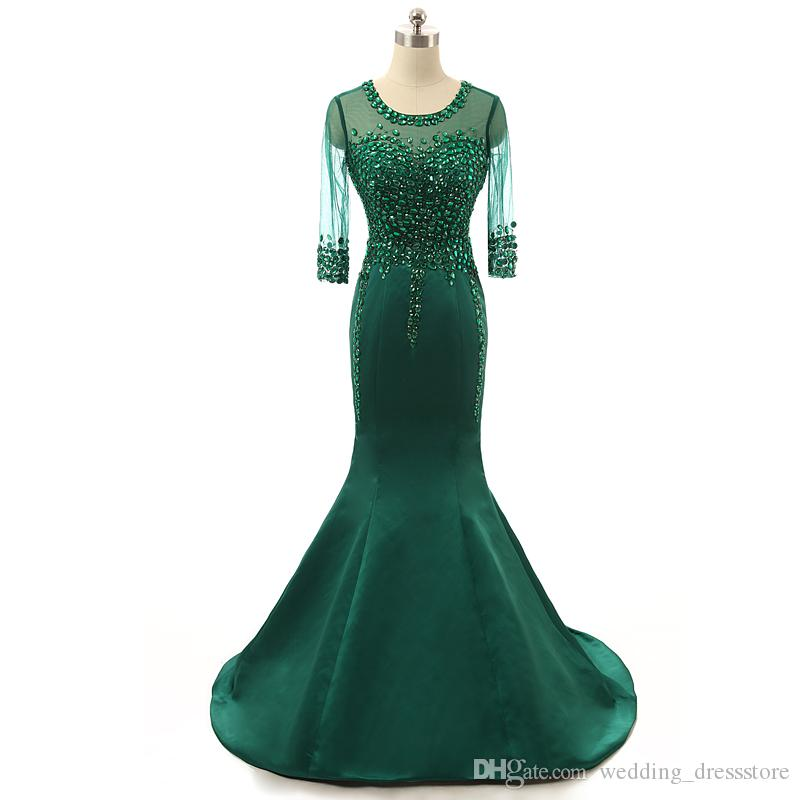 Emerald Evening Dresses 2019 with Beaded vestidos de noiva Scoop Neck Crystal Formal Prom Gowns Free Shipping