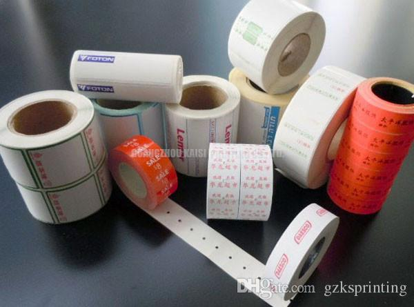 Custom die cut thermal stickers printing any size Thermal labels rolls for supermarket shop MOQ 3000 pcs Heat sensitive self adhesive label