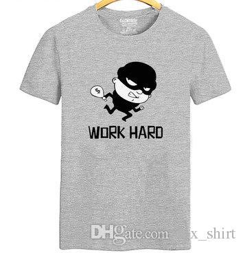 Work hard thief T shirt Funny cartoon short sleeve gown Street tees Leisure unisex clothing Quality cotton Tshirt