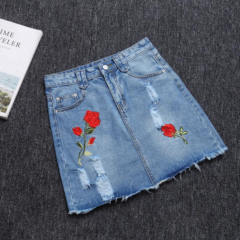 2017 джинсы юбка получать новое отверстие в ковбой джинсовая юбка заусенцы досуг показать тонкий вышитые бюст юбки женские